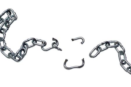 Photo of broken metallic chain isolated on white background