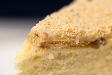 Photo of ahome-made multi-layered cake with sour cream, close-up Stock Photo