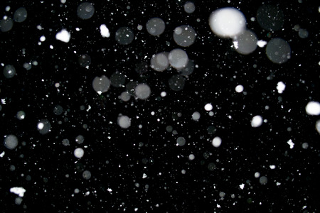 Photo of a dense snow falling at night, beautiful background Stock Photo
