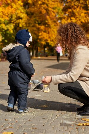 Mom with a little son feed pigeons in the park in the fall.