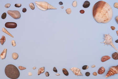 Seashells and stones on a blue background, summer concept, copy space. Banco de Imagens