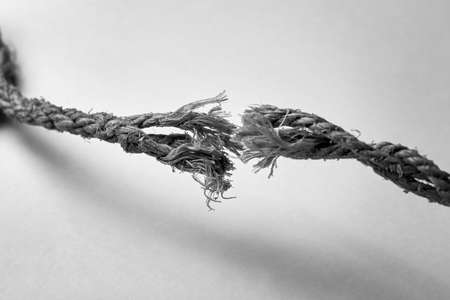 The moment the rope break, liberation concept, black and white photo.