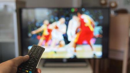 Basket watching on tv