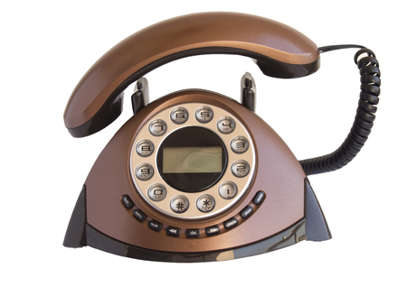 Isolated brown home telephone