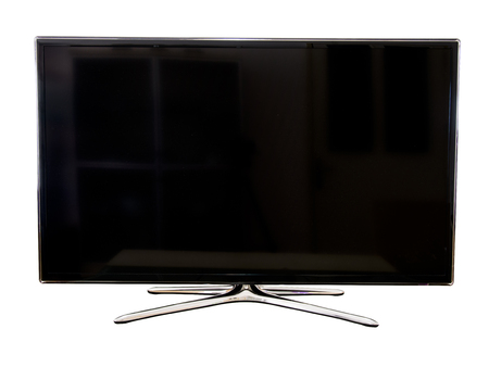 Isolated black screen television Stock Photo