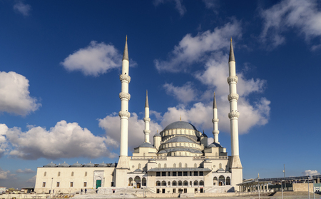 Ankara-Turkey kocatepe mosque landscape view with blue sky and clouds