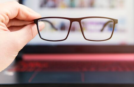 computer use with glasses for eye health, concept image