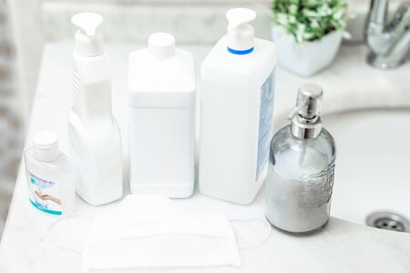 soap and antiseptic solutions used for hand cleaning and hygiene. protection from viruses