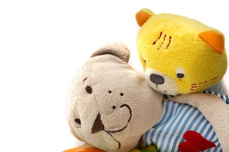 plush toys about friendship and with white background
