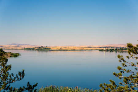 a lake view, blue sky and blue waters in turkey ankara golbasi