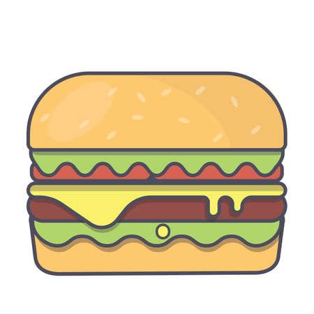 vector illustration of hamburger on a white background 免版税图像