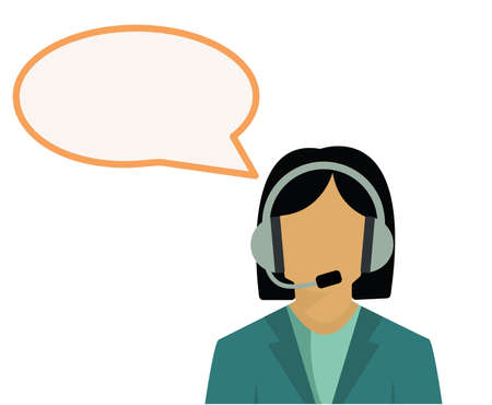 illustration of female call center worker and speech bubble