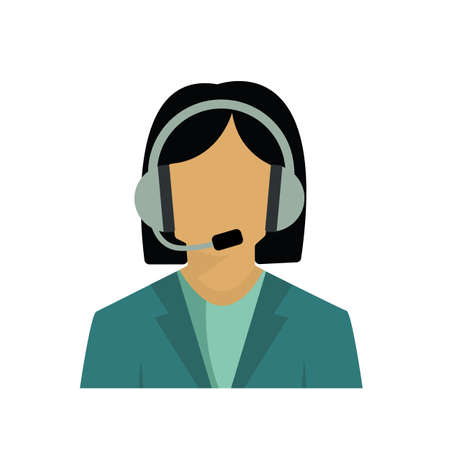 call center customer service representative, female employee vector image