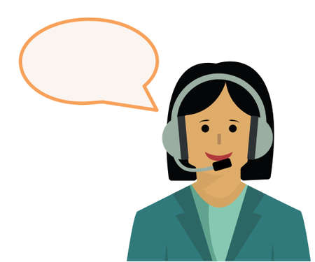 vector illustration of female call center worker and speech bubble