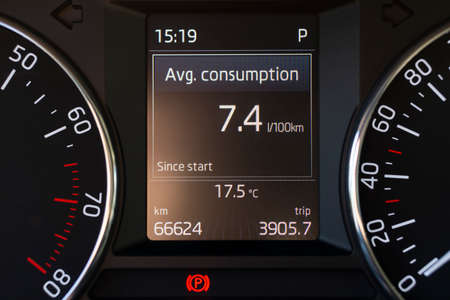 fuel average consumption in the vehicle information panel 免版税图像