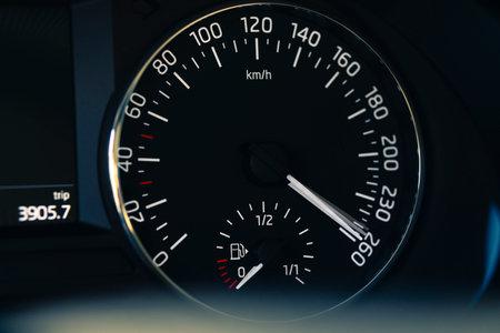 vehicle speedometer showing overspeed 免版税图像