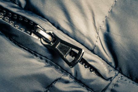 close-up zipper with thick teeth on the coat