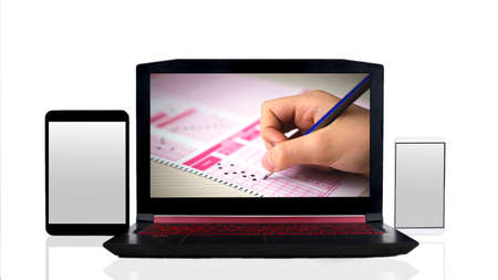 Online quiz application with computer, tablet and phone. digital education and exams concept visual