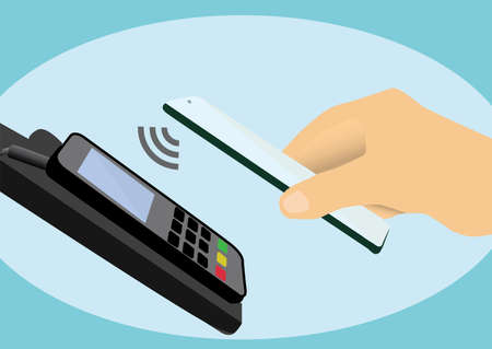 Mobile payment transaction via smart phone. contactless payment by phone