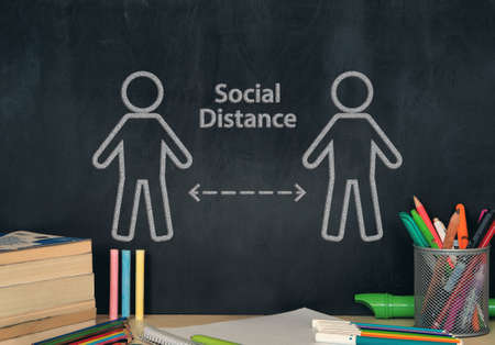 social distance on school board for students