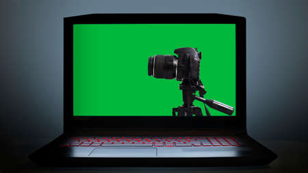 photo and video editing with green screen on computer