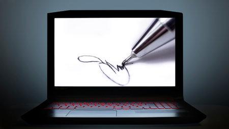 visual describing e signature on computer screen 免版税图像