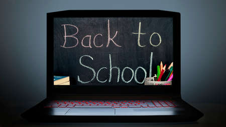Back to school concept visual on computer screen. online school education.