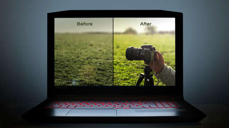 visual about editing photos on computer. edit photos before and after 免版税图像