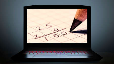 take online math lessons with computers 免版税图像