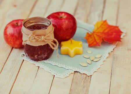 Vintage autumn concept of food photo