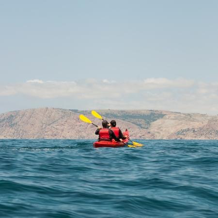 kayaker: Kayak  People kayaking in the ocean