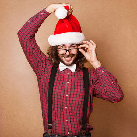 Photo of Santa Claus looking at camera. Hipster style. Stock Photo - 23311630