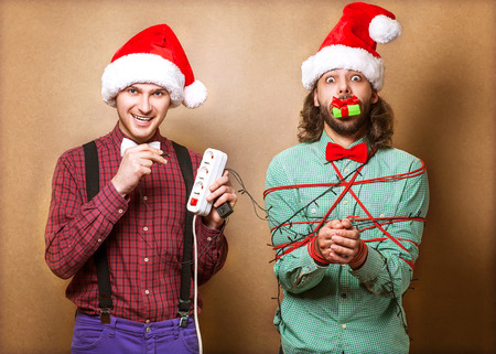two guys to play with Christmas garland Stock Photo - 23446508