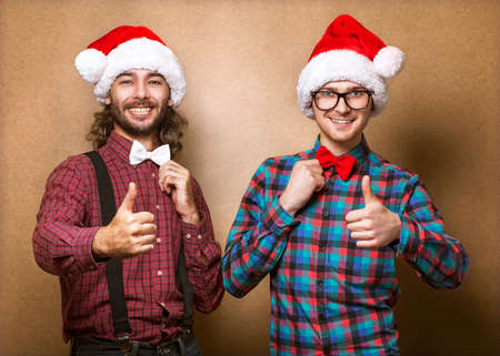 two guys on Christmas show sign of cool Stock Photo - 23446510