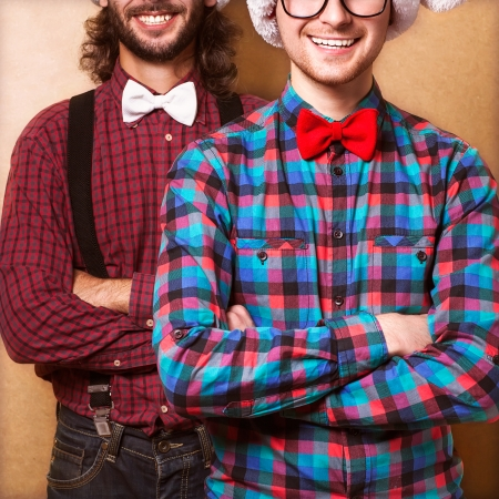 stodio: Two hipsters in stodio on christmas