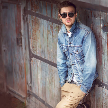 male fashion model: Hipster style guy