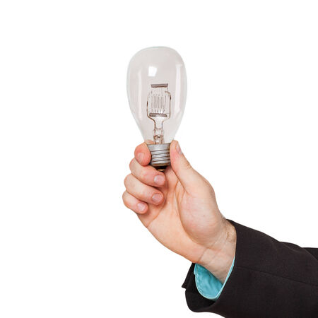 Businessman hand shows Light bulb photo