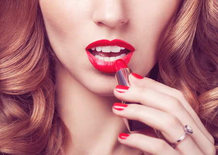 vogue style portrait of beautiful delicate woman red lipstick
