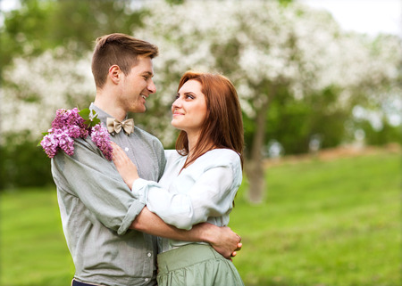 Young couple in love outdoor photo