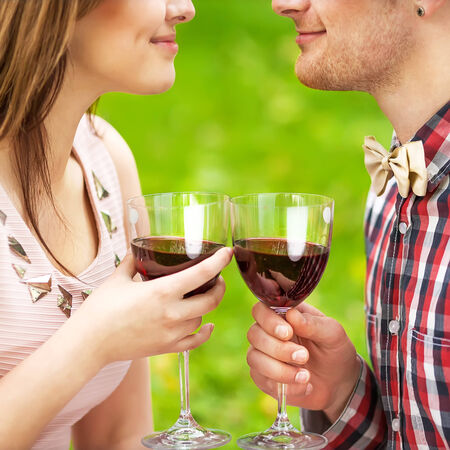 Young couple drinking wine photo