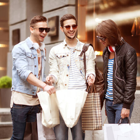 Three Young male fashion metraseksualy shop shopping walk photo
