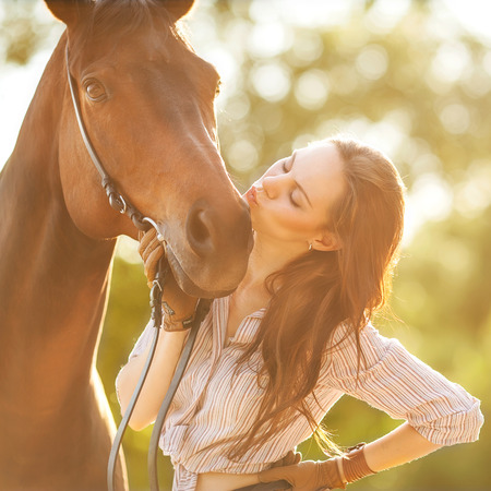 animal sexy: Beautiful woman and horse