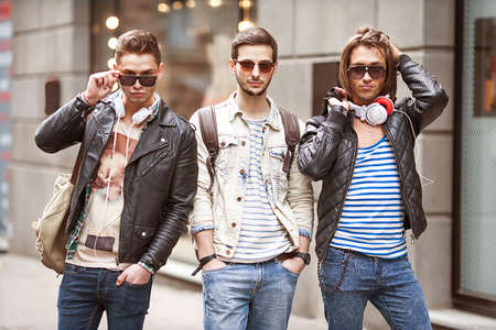 Three Young men fashion  photo