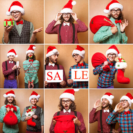 Two guys holding christmas gifts happy. Christmas, x-mas, people, advertisement, sale concept - happy two man in santa helper hat with blank white board. Hipster style.Collage photo