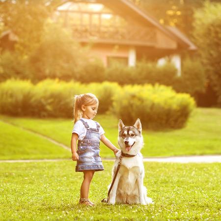 mujer con perro: niña en el parque de su casa con un perro Husky