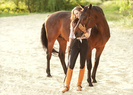 autumn horse: Beautiful woman and horse