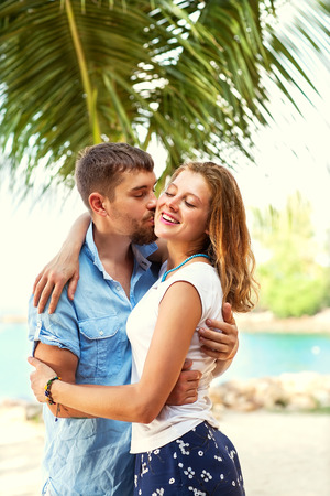 couple in love happy in the park photo
