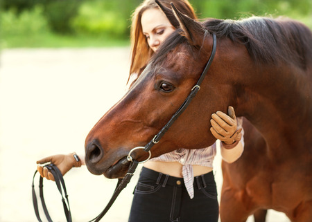 forest animal: Beautiful woman and horse