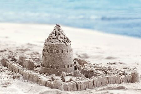 Sand house made with his own hands Children