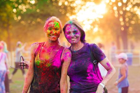 girls celebrate holi festival